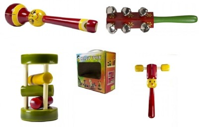 CeeJay Set of 4 Colorful Wooden Baby Toys:Model RA-OW020 Rattle
