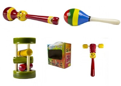 CeeJay Set of 4 Colorful Wooden Baby Toys:Model RA-OW019 Rattle