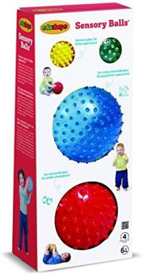Edushape Sensory Ball Mega, Colors May Vary, 4 Count Rattle