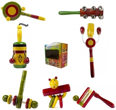 CeeJay Set of 7 Colorful Wooden Baby Toys:Model RA-OW024 Rattle
