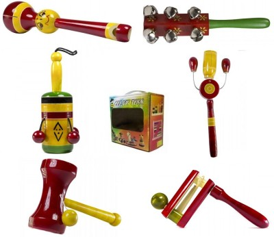 CeeJay Set of 6 Colorful Wooden Baby Toys:Model RA-OW021 Rattle