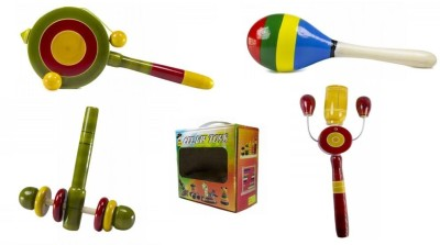CeeJay Set of 4 Colorful Wooden Baby Toys:Model RA-OW007 Rattle