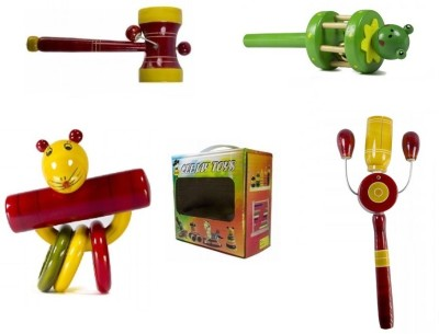 CeeJay Set of 4 Colorful Wooden Baby Toys-Model RA-OW013 Rattle