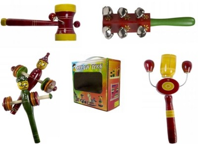 CeeJay Set of 4 Colorful Wooden Baby Toys:Model RA-OW011 Rattle
