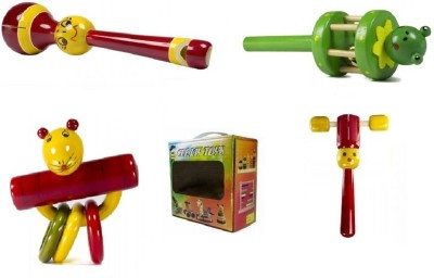 CeeJay Set of 4 Colorful Wooden Baby Toys:Model RA-OW018 Rattle