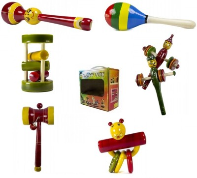 CeeJay Set of 6 Colorful Wooden Baby Toys:Model RA-OW023 Rattle