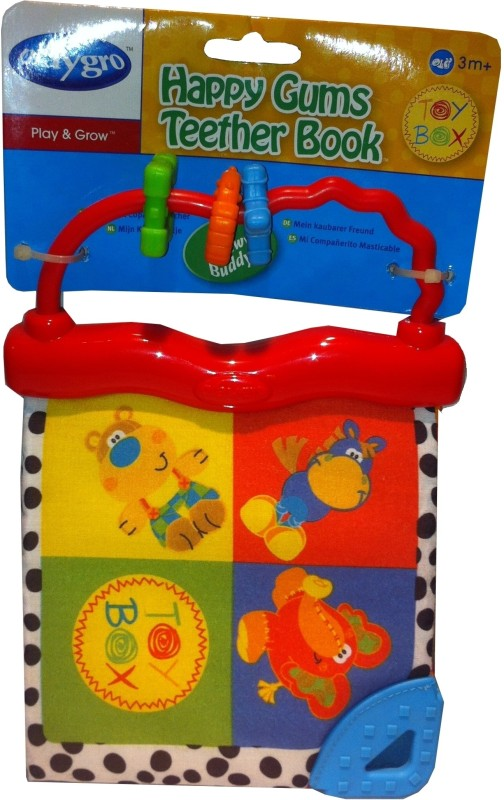Playgro Happy Gums Teether Book Rattle(Multicolor)