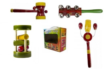 CeeJay Set of 4 Colorful Wooden Baby Toys-Model RA-OW015 Rattle