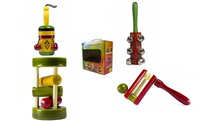 CeeJay Set of 4 Colorful Wooden Baby Toys:Model RA-OW005 Rattle