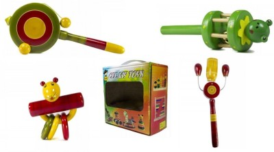 CeeJay Set of 4 Colorful Wooden Baby Toys:Model RA-OW008 Rattle