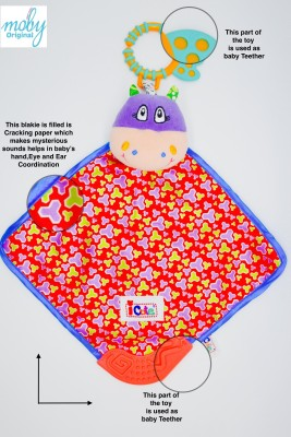 Moby ICute Toys - My Teether Hippo Blankie Rattle