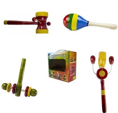 CeeJay Set of 4 Colorful Wooden Baby Toys:Model RA-OW012 Rattle