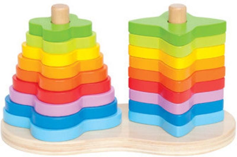 Hape Double Rainbow Stacker Rattle(Multicolor)