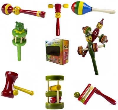 CeeJay Set of 8 Colorful Wooden Baby Toys:Model RA-OW025 Rattle