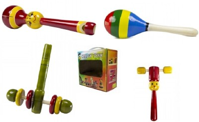 CeeJay Set of 4 Colorful Wooden Baby Toys:Model RA-OW017 Rattle