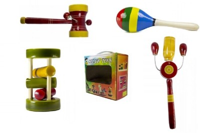 CeeJay Set of 4 Colorful Wooden Baby Toys:Model RA-OW014 Rattle