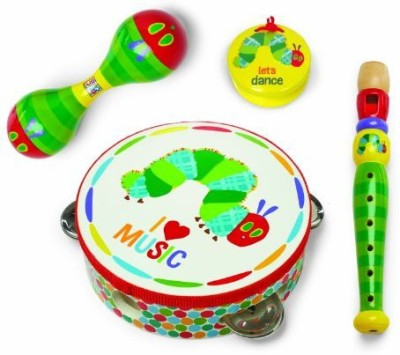Kids Preferred World of Eric Carle, The Very Hungry Caterpillar Instrument Gift Set - Boxed Rattle