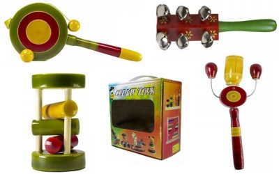 CeeJay Set of 4 Colorful Wooden Baby Toys:Model RA-OW010 Rattle