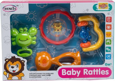 VENUS-PLANET OF TOYS Set Of 4, Light Weight Non-Toxic Plastic, For New Born Baby Rattle(Multicolor)