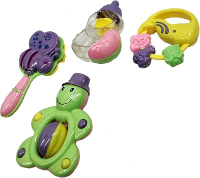 Darling Toys Multicolour Plastic Rattle - Set of 4 Rattle(Multicolor)