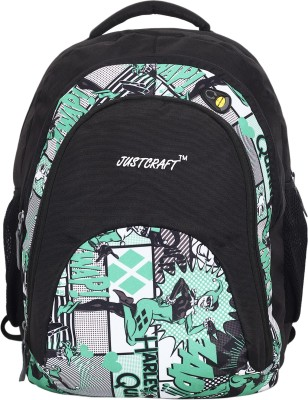 Justcraft Tiger Black and Printed Green 32 L Backpack