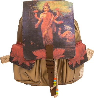 The House of Tara Golden Faux Leather and Canvas Godess Lakshmi Bag 16 L Medium Backpack