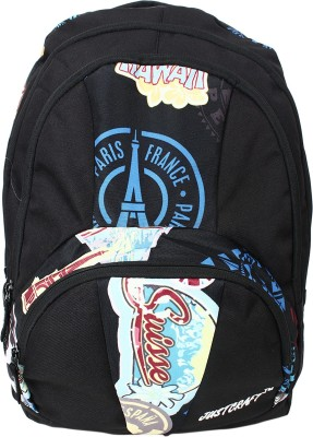 Justcraft Trendy Black and Printed Black 30 L Backpack