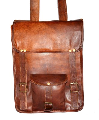 Hide 1858 Genuine Leather Messenger Cut Flap Dark Tan Bag 3.5 L Backpack