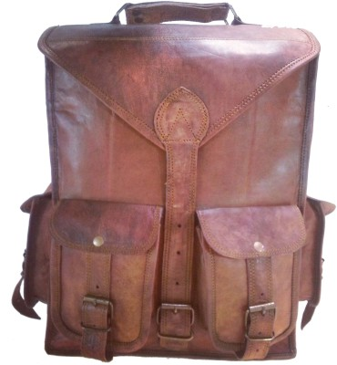 Hide 1858 TM Genuine Leather Backpack Dark Tan 0.24580596 L Large Backpack