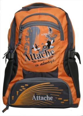 Attache Rocking School Bag (Orange & Grey) 30 L Backpack