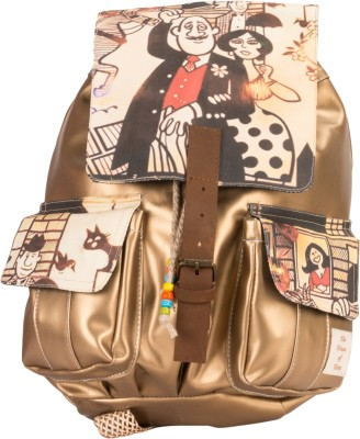 The House of Tara Golden Faux Leather and Canvas Caricature Bag 16 L Medium Backpack