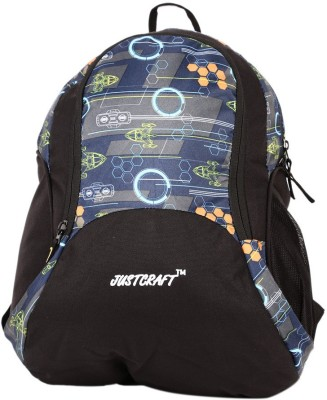 Justcraft Pluto Black and NW Dark Blue 22 L Backpack