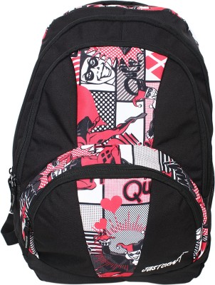 Justcraft Trendy Black and Printed Red 30 L Backpack