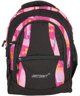 Justcraft Airport Black and Printed NW Pink 30 L Backpack
