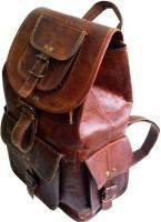 Indias Creation Pure Goat Leather Handmade Rucksack lap Travel Bag 16 L Backpack(Brown)