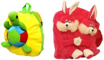 Disha Enterprises Pink Double Face Rabit and Tortoise 7 L Backpack