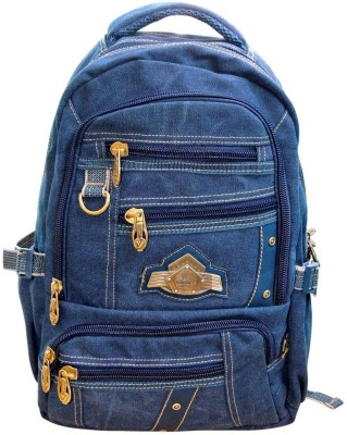 Bagathon India Multi Pockets Canvas Backpack With Water & Dust Proof Rain Cover [DENIM BLUE] 25 L Backpack