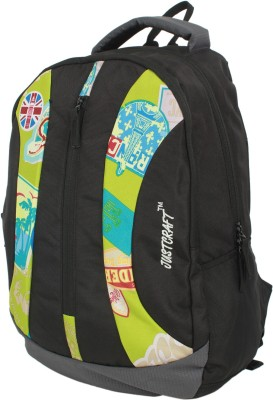 Justcraft Rock Star Black and Green 25 L Backpack