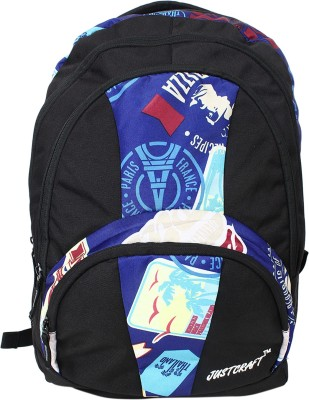 Justcraft Trendy Black and P Blue 30 L Backpack