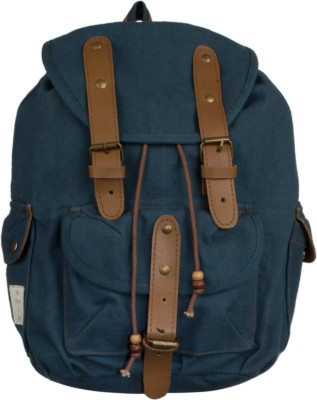 The House of Tara Leather Accented Canvas 16 L Medium Backpack(Blue)