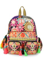 The House of Tara Cotton Durrie with Printed Fabric 27 L Backpack(Multicolor)