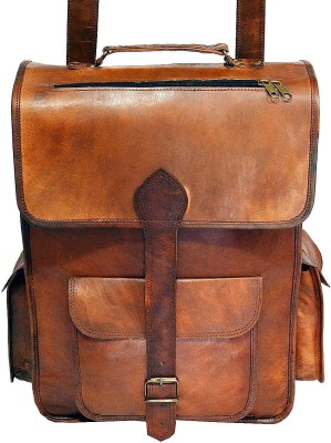 Hide 1858 Genuine Leather Messenger Cum Dark Tan Bag 2.5 L Backpack