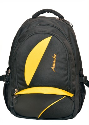 Attache Polyester School Bag/Laptop Bag (Yellow & Black) 20 L Backpack