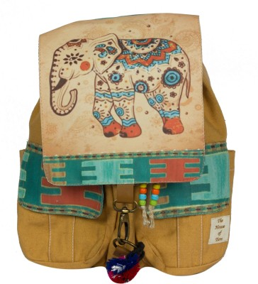 The House of Tara Printed Flaps Canvas 16 L Medium Backpack