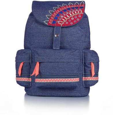 Shaun Design Denim Embroidered 8 L Medium Backpack