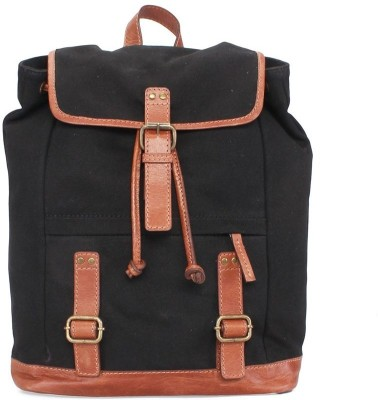 BARESKIN BLACK CANVAS TAN LEATHER 5 L Backpack