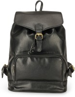 The House of Tara PU Leather Overnighter Hiking Weekender 21 L Backpack(Pirate Black)