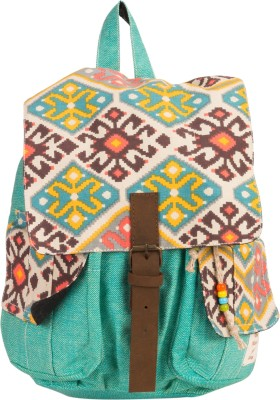 The House of Tara Canvas Herringbone and Ikkat Print Bag 16 L Medium Backpack