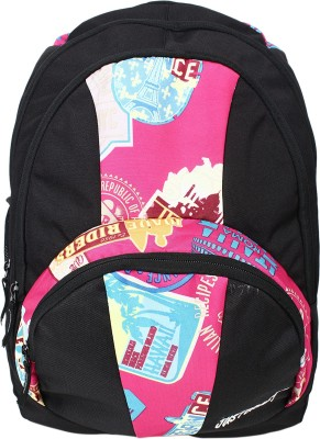 Justcraft Trendy Black and Printed D Pink 30 L Backpack