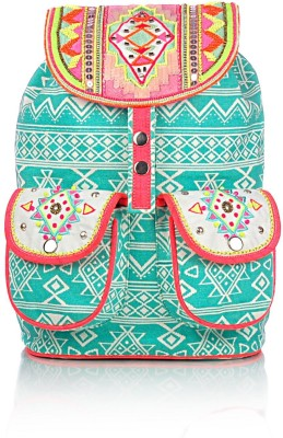 Shaun Design Tribal Embroidered Aqua 8 L Medium Backpack